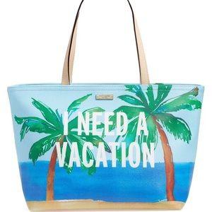 "NWT Kate Spade ""I Need a Vacation"" Tote."